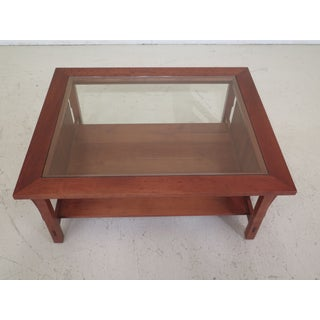 Arts & Crafts Stickley Mission Cherry Glass Top Coffee Table Preview