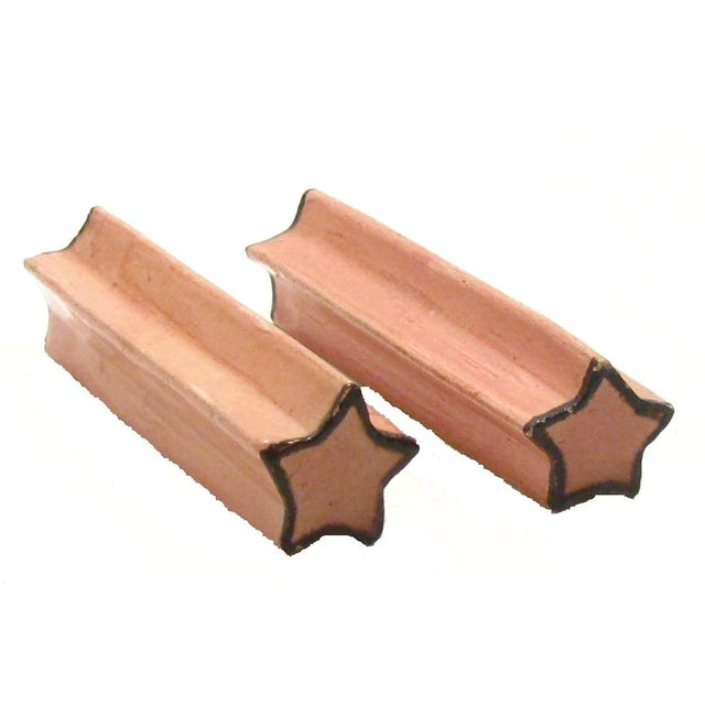 French Pink Pottery Knife Rests - Set of 6 For Sale