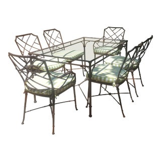 Brown Jordan Calcutta Faux Bamboo Patio Dining Table Set - 7 Pieces For Sale