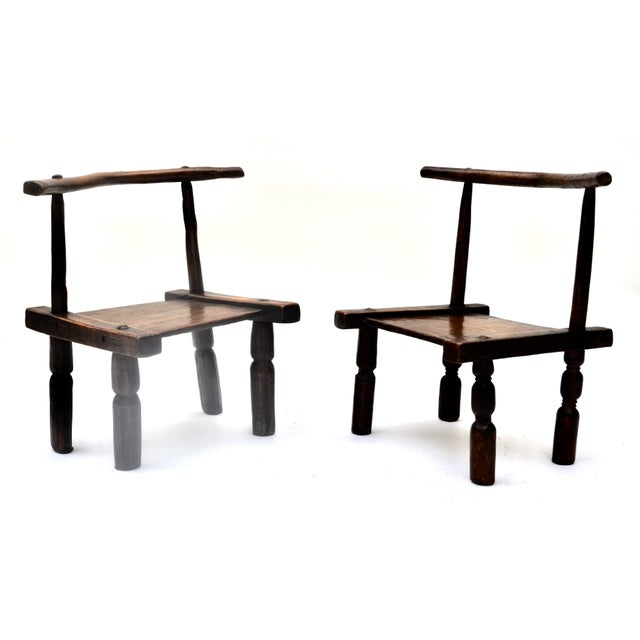 African West African Senufo Carved Wood Chair Pair For Sale - Image 3 of 6