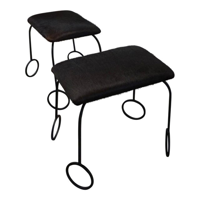 Cowhide and Iron Stools For Sale