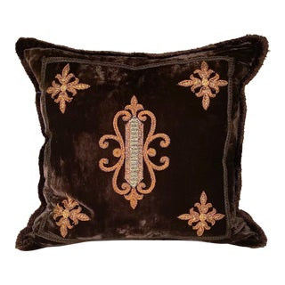 Deep Blue Velvet Embroidered Pillow For Sale