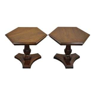 Pair Vintage Ethan Allen Georgian Court Cherry Pedestal Hexagonal Side End Table