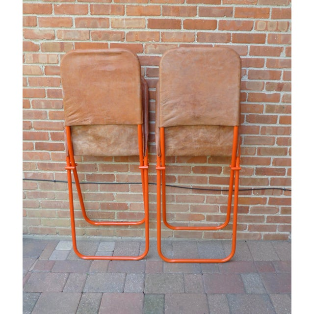 Modern Leather Lounge Chairs - a Pair For Sale - Image 4 of 8