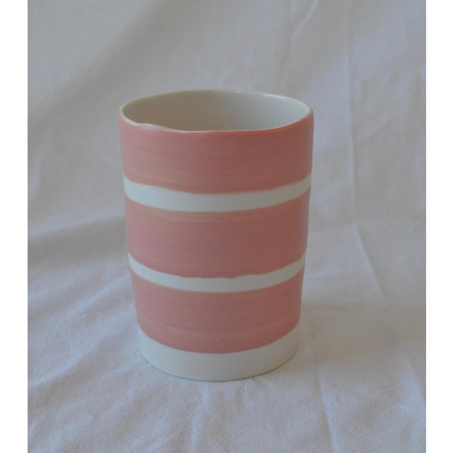 Contemporary Ceramic Multi Striped Cylindrical Vessels - Group of 5 For Sale - Image 4 of 13