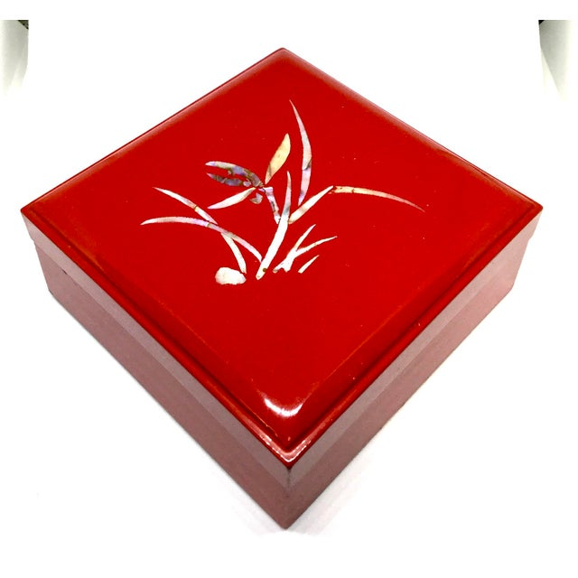 Vintage Red Japanese Lacquered & Mother of Pearl Box For Sale - Image 13 of 13