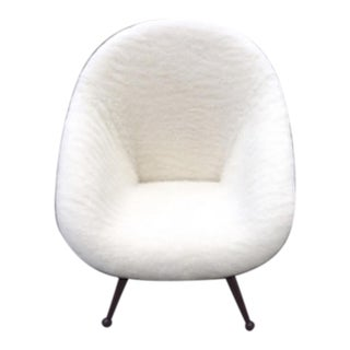"Folke Jansson Superb ""Egg"" Chair Newly Covered in Wool Faux Fur"