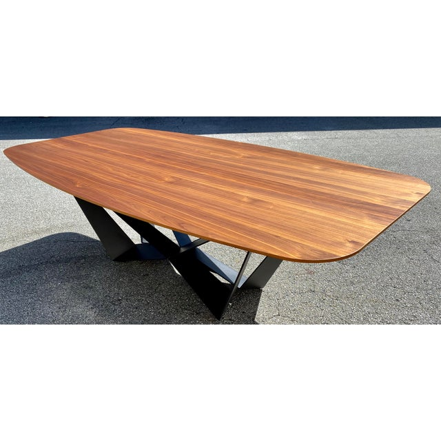 Walnut Dining Table With Stainless Steel Powder Coated Base For Sale - Image 9 of 9