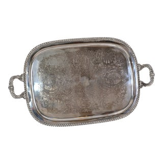 Old English Silver Plate Ornate Rectangular Footed Serving Tray With Handles For Sale