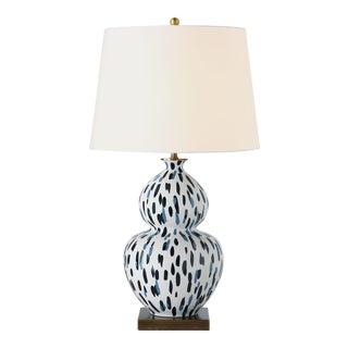 Madcap Cottage Gourd Blue Porcelain Table Lamp For Sale