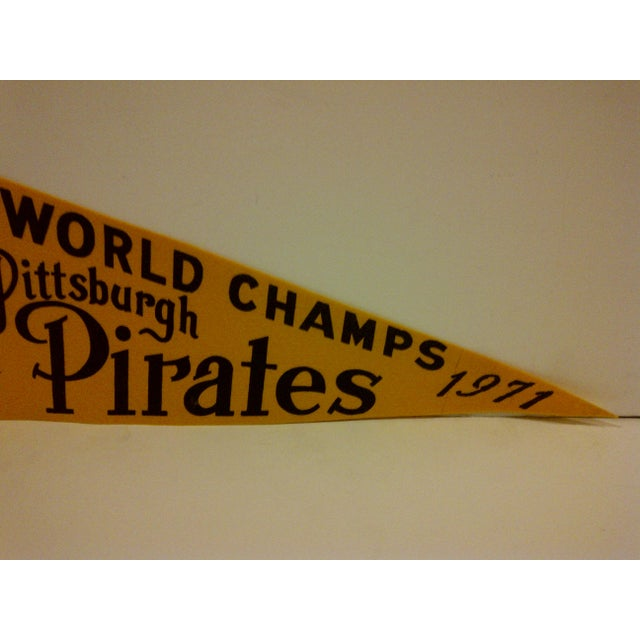 1971 Vintage MLB Pittsburgh Pirates World Champs Team Pennant For Sale - Image 4 of 5