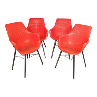 1960s Mid Century Modern Plastic Dining Chairs - Set of 4 For Sale