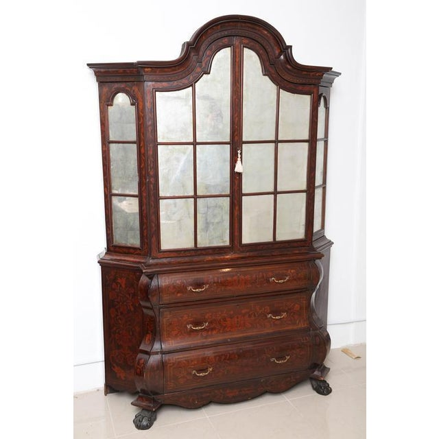 Wood Antique 1830s Dutch Marquetry Bookcase / Display Cabinet For Sale - Image 7 of 7