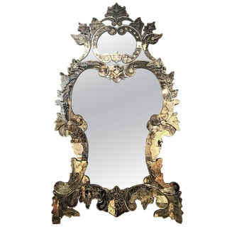 Monumental Etched Glass Venetian Wall Mirror