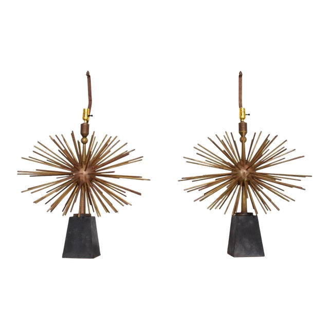 Pair of Mid-Century Mexican Modernist Pani Starburst Brass Table Lamps For Sale