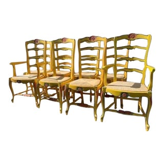 Country French Rush Seat Dining Chairs S/8 For Sale
