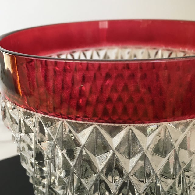 Glass Hobnail Glass Ruby Flash Ice Bucket For Sale - Image 7 of 11