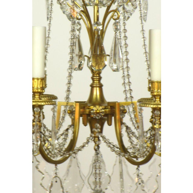 Belle Epoque French Directoire Style Gilt Bronze and Crystal Chandelier For Sale - Image 3 of 5