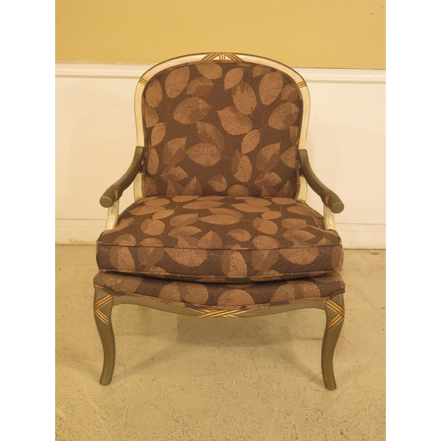Upholstered Arm Chair & Matching Ottoman For Sale - Image 4 of 11