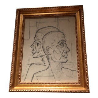 1940s Original Abstract Faces Cubist Drawing For Sale