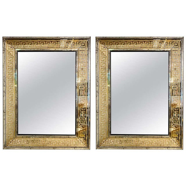 Hollywood Regency Mirrors Gilt Gold Greek Key Design Wall, Console Pier a Pair For Sale - Image 13 of 13