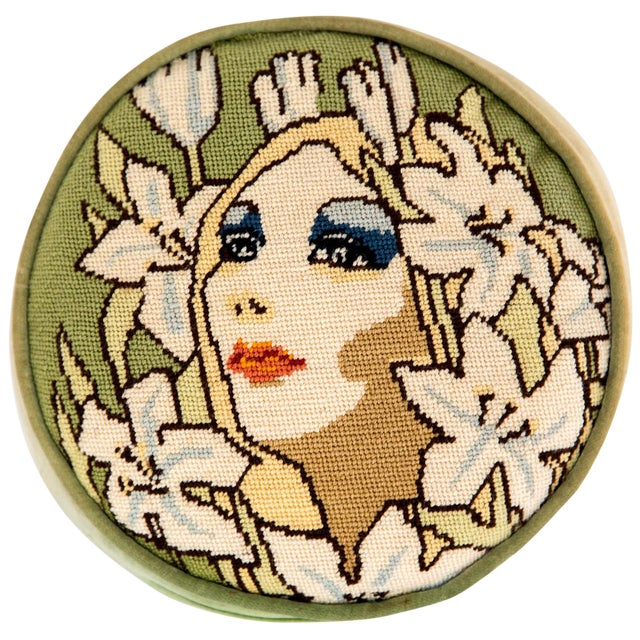 "1960s Needlepoint ""Mod"" Face Pillow For Sale"
