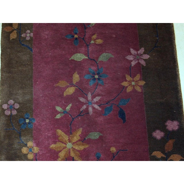 1920s Handmade Antique Art Deco Chinese Rug 1.10' X 3.10' For Sale - Image 4 of 10