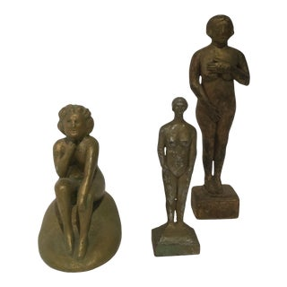 1920s Hand Carved Primitive Nude Figurines- Set of 3 For Sale