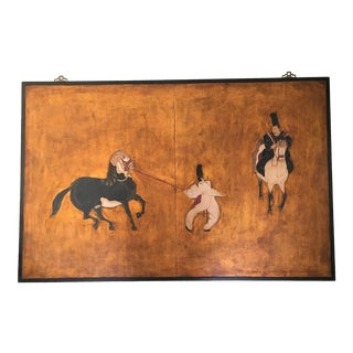 Large Chinese Painted Wall Panel With Tang Horses and Riders, Framed For Sale