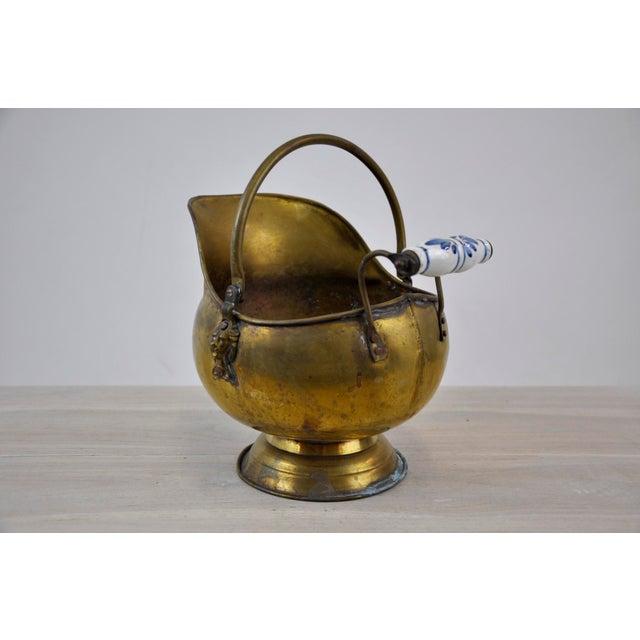 Vintage Brass Helmet Coal Scuttle For Sale - Image 11 of 11