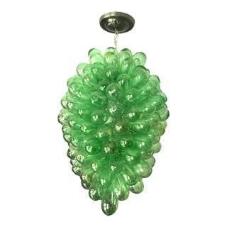 Emerald Green Light Fixture of Handblown Glass For Sale