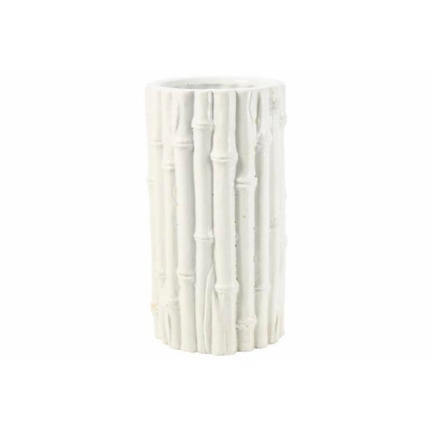 """Italian Rosenthal Netter ceramic bamboo raised texture vase in off white. Labeled underside """"Crafted in Italy for..."""