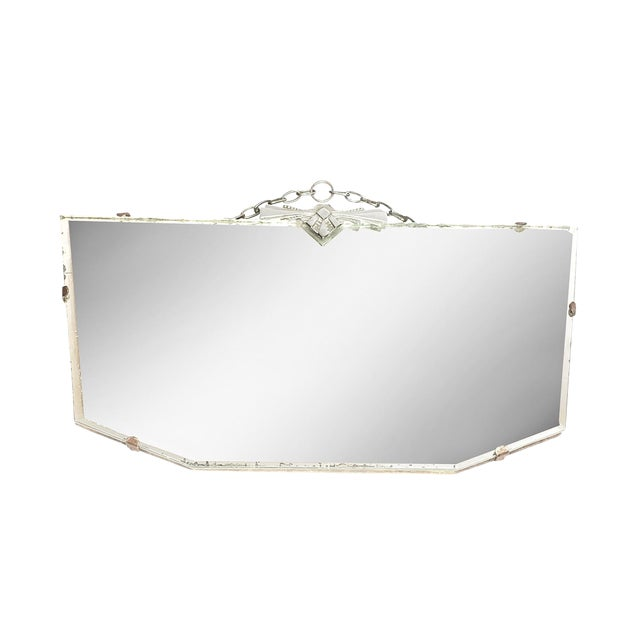 Vintage Art Deco Frameless Hanging Beveled Mirror With Chrome Detail For Sale