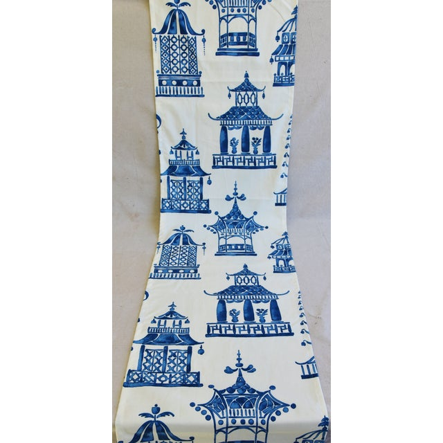 """Chinoiserie Blue & White Pagoda Table Runner 110"""" Long For Sale - Image 4 of 7"""