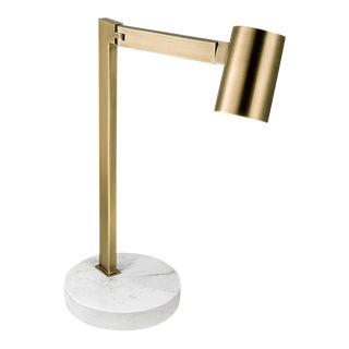English Brass Desk Lamp With Round Stone Base For Sale