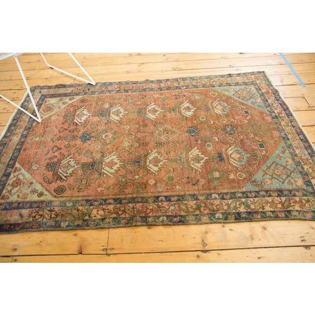 """Blue Vintage Distressed Malayer Rug - 4' X 6'1"""" For Sale - Image 8 of 13"""