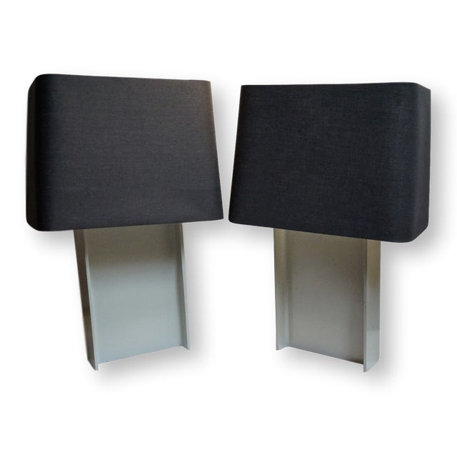 Pair of heavy steel industrial I-beam table lamps designed by Jeff Jones for Laurel Lamp Company. Featuring a painted...