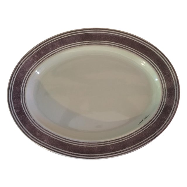 Teal Platter by Daniel Hechter for Salins France - Image 1 of 5