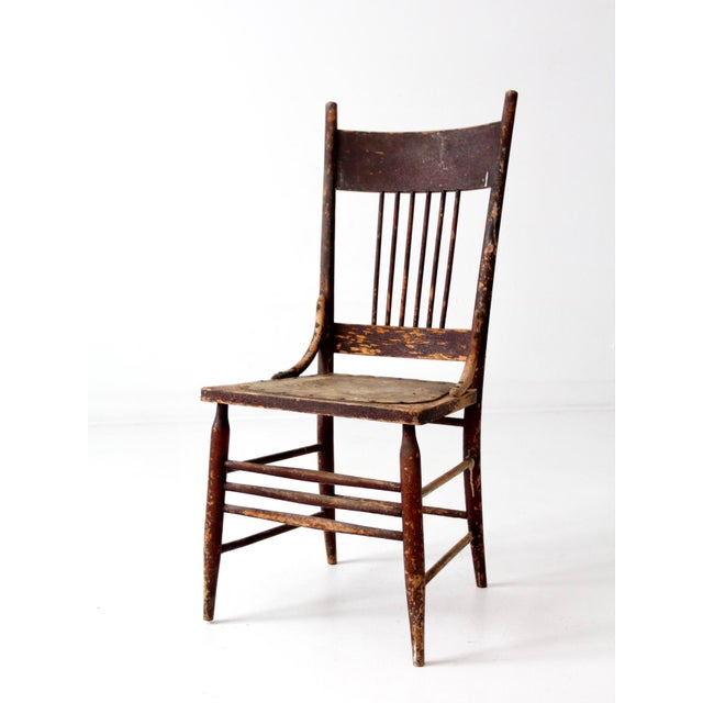 Antique Wooden Kitchen Chairs: Antique Pressed Leather Seat Spindle Back Chair