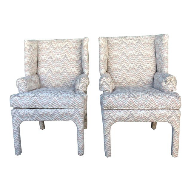 Mid Century High Back Wingback Chair With Vintage Upholstery- A Pair For Sale