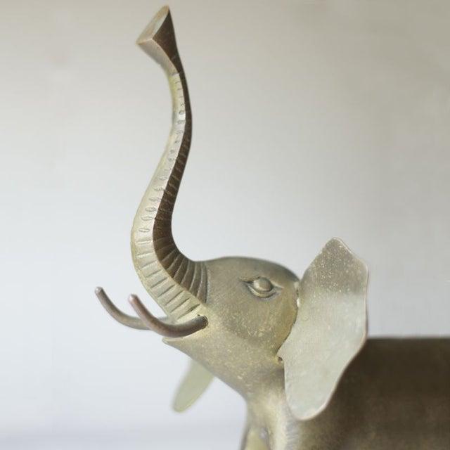 Vintage Brass Elephant For Sale - Image 4 of 4