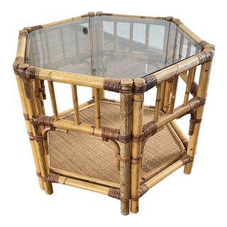 Vintage Boho Chic Large Bamboo Octagonal Side Table For Sale