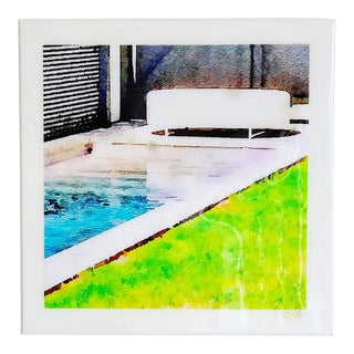 Lap Pool - Swimming Pool Art - Digital Watercolor Print Sealed With Resin on Canvas by Suzanne MacCrone Rogers For Sale