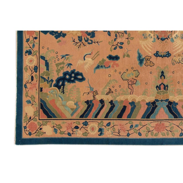 1920s Antique Peach Peking Chinese Room Size Wool Rug 9 Ft X 11 Ft 9 In. For Sale - Image 5 of 11