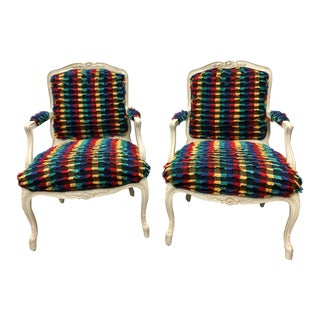 1980s Vintage French Louis XV Style Accent Chairs- A Pair For Sale