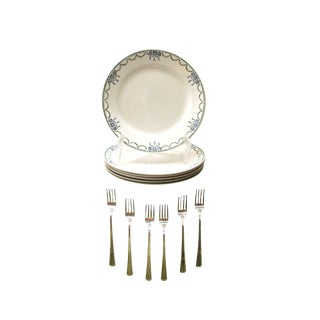 French Art Deco Transferware Plates & Silverplate Cocktail Forks, 12 Pieces For Sale