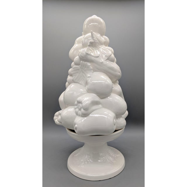 French Large 1967 Vintage White Fruit Basket Topiary Centerpiece For Sale - Image 3 of 13