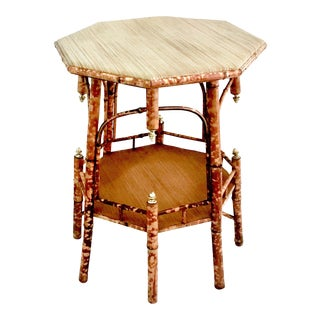 Antique Bamboo & Rattan Octagonal Table