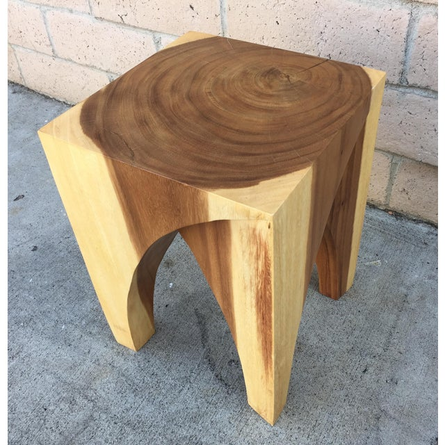 Asian Boho Chic Chiang Mai Curve Stool or End Table For Sale - Image 3 of 4