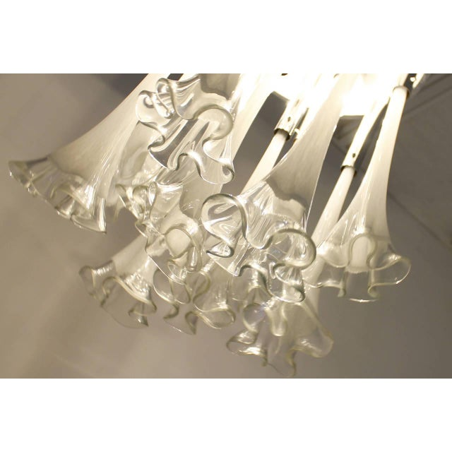 Mid-Century Modern Venini Murano Glass Flush Mount Chandelier, Italy, Circa 1970s For Sale - Image 3 of 13